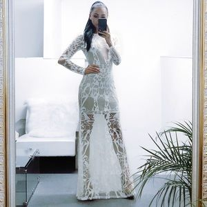 🌹 White sheer Maxi Dress Gown Long Sleeve Bodycon